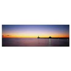 Silhouette Of A Lighthouse, Duluth, Minnesota Framed Print